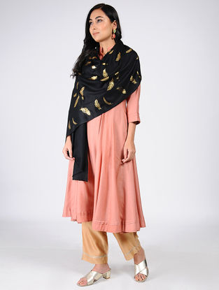 Black Gold Leaf Khari-Printed Wool Shawl