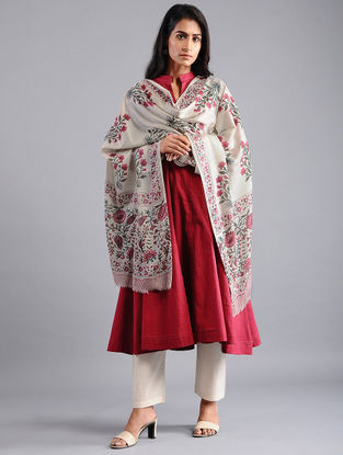 Ivory-Red Block-printed Wool Shawl