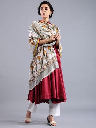Ivory-Yellow Block-printed Wool Shawl
