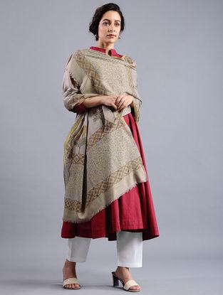 Grey-Green Block-printed Wool Shawl
