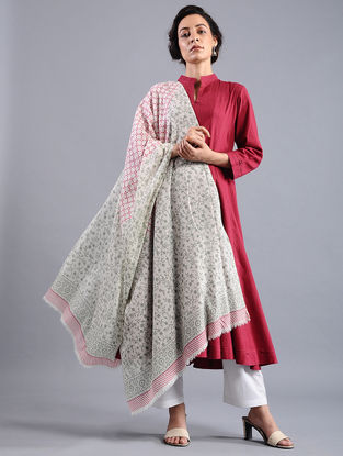 Ivory-Grey Block-printed Wool Shawl