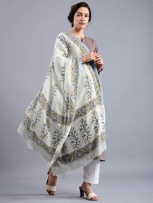 Ivory-Blue Block-printed Wool Shawl