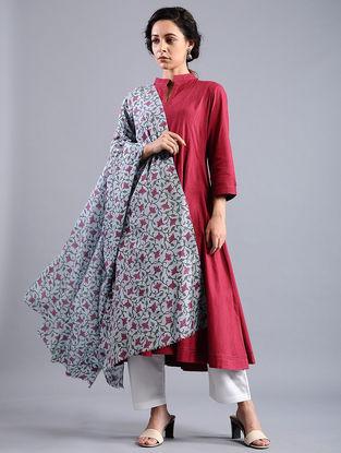 Blue-Purple Block-printed Wool Shawl