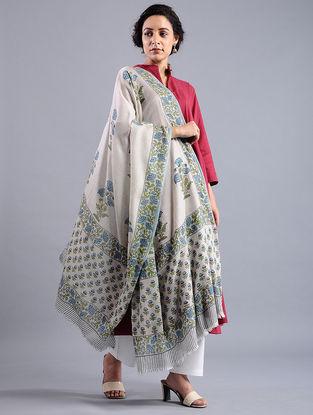 Ivory-Blue Block-printed Wool Shawl