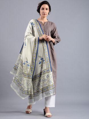 Ivory-Green Block-printed Wool Shawl