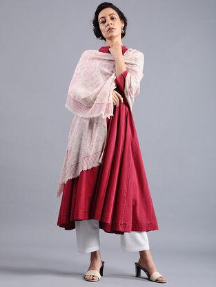 Ivory-Pink Block-printed Wool Shawl
