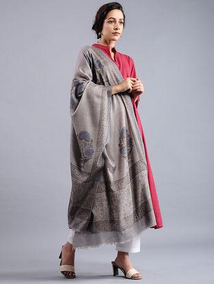 Grey-Blue Block-printed Wool Shawl