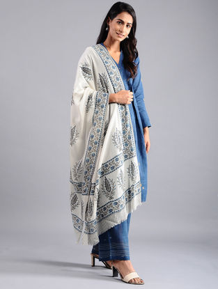 Ivory-Grey Block-printed Wool Shawl