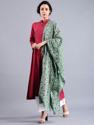 Green-Purple Block-printed Wool Shawl