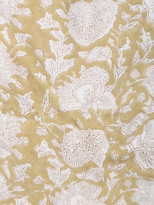 Ochre-White Block-printed Gadd Cotton Fabric