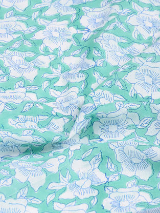 White-Green Block-printed Gadd Cotton Fabric
