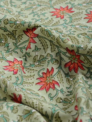Green-Red Block-printed Gadd Cotton Fabric