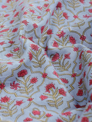 Blue-Pink Block-printed Gadd Cotton Fabric