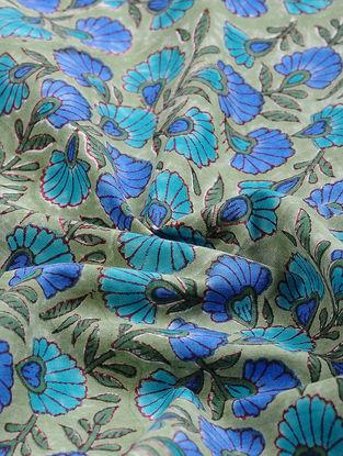 Green-Blue Block-printed Gadd Cotton Fabric