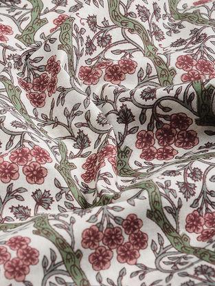 Ivory-Green Block-printed Gadd Cotton Fabric