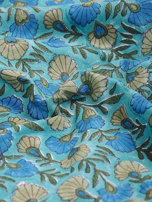Blue-Green Block-printed Gadd Cotton Fabric