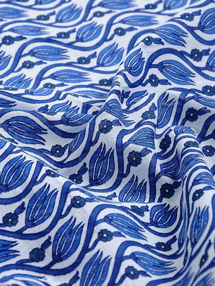 White-Blue Block-printed Gadd Cotton Fabric