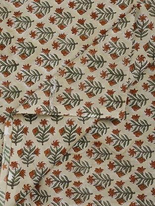 Beige-Green Block-printed Gadd Cotton Fabric