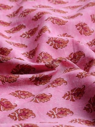 Pink-Orange Block-printed Gadd Cotton Fabric