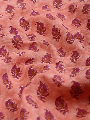 Peach-Pink Block-printed Gadd Cotton Fabric