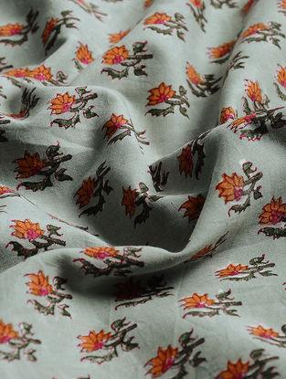 Grey-Orange Block-printed Gadd Cotton Fabric