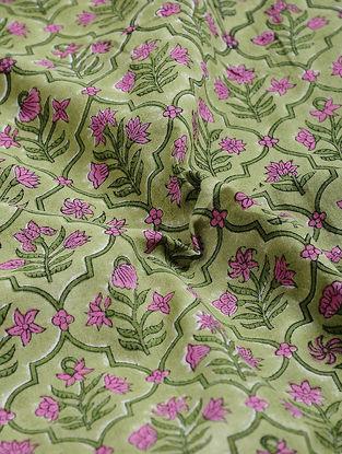 Green-Purple Block-printed Gadd Cotton Fabric