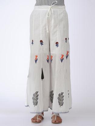 Ivory-Orange Tie-Up Waist Block-printed Cotton Palazzos