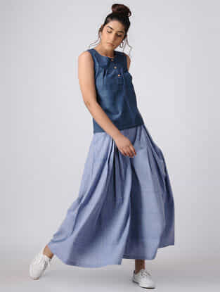 Blue Khadi Top with Gathers