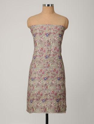 Grey-Multicolored Printed Tussar Silk Kurta Fabric