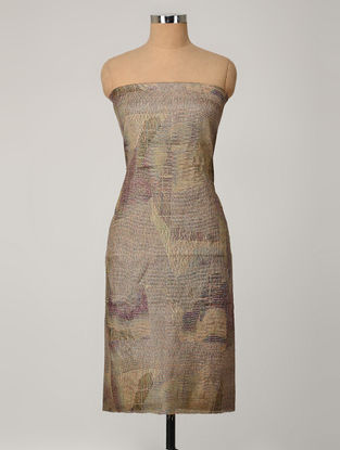Blue-Mustard Printed Tussar Silk Kurta Fabric