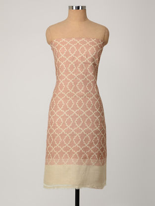 Beige-Pink Printed Tussar Silk Kurta Fabric