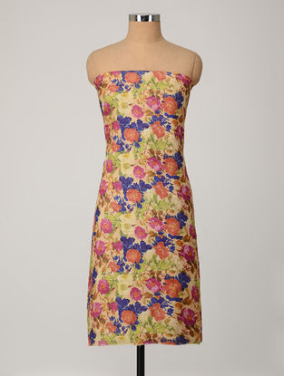 Beige-Multicolored Printed Tussar Silk Kurta Fabric