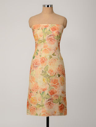 Peach-Beige Printed Tussar Silk Kurta Fabric
