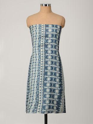 Blue-Ivory Printed Muga Silk Kurta Fabric