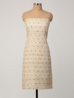 Beige-Pink Tussar Silk Kurta Fabric with Mirror-work
