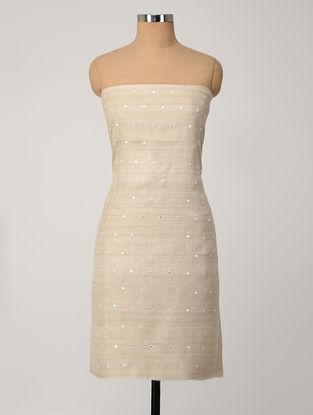 Beige-Ivory Tussar Silk Kurta Fabric with Mirror-work