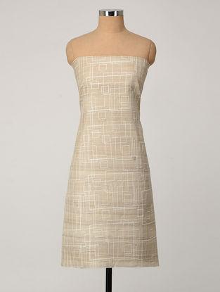 Beige-Ivory Embroidered Tussar Silk Kurta Fabric