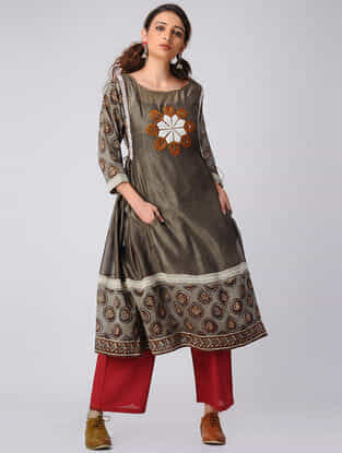 Grey Block-printed Hand-embroidered Chanderi Kurta with Pockets