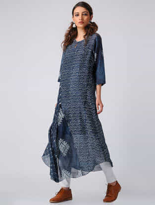 Indigo Block-printed Chanderi Kurta with Slip (Set of 2)