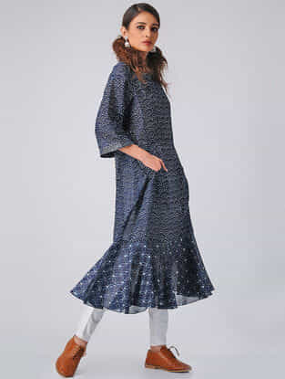 Indigo Block-printed Chanderi Kurta with Pockets