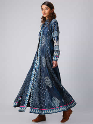 Indigo Block-printed Panelled Chanderi Kurta