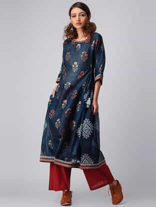Indigo Block-printed Hand-embroidered Chanderi Kurta
