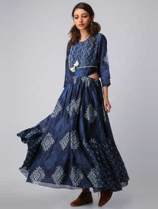 Indigo Block-printed Elasticated Waist Chanderi Maxi Dress