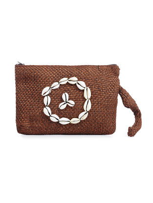 Brown Handwoven Wool Wristlet with Shells
