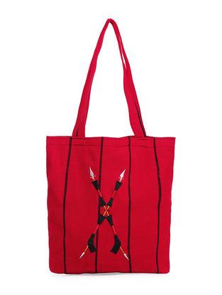 Red Thread-Embroidered Handwoven Wool Naga Handbag