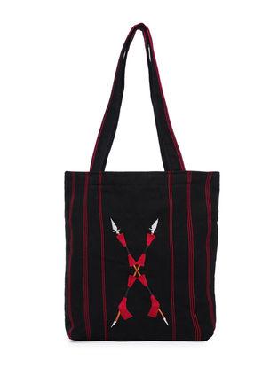 Black Thread-Embroidered Handwoven Wool Naga Handbag