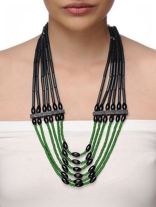 Green-Black Beaded Tribal Necklace