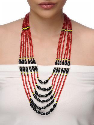 Red-Black Beaded Tribal Necklace