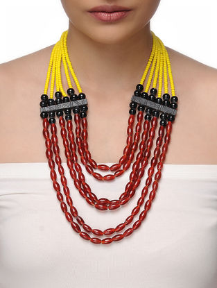 Red-Yellow Beaded Tribal Necklace