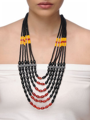 Black-Red Beaded Tribal Necklace